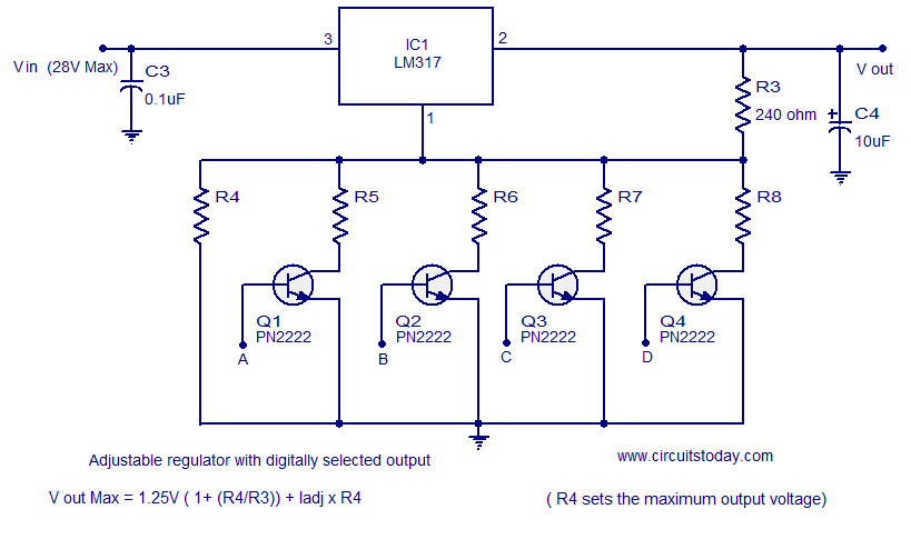 http://www.circuitstoday.com/wp-content/uploads/2011/04/LM317-voltage-regulator-digitally-selected-output.png