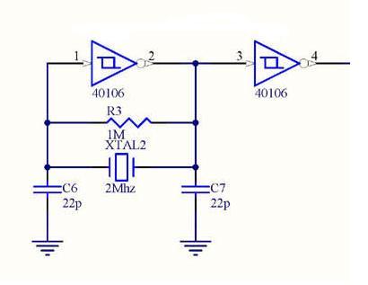 circuits online forum x tal osc met 40106 schmitt trigger inverter. Black Bedroom Furniture Sets. Home Design Ideas